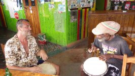 Drum Jamming at Saline Bay Bar Mayreau Grenadines
